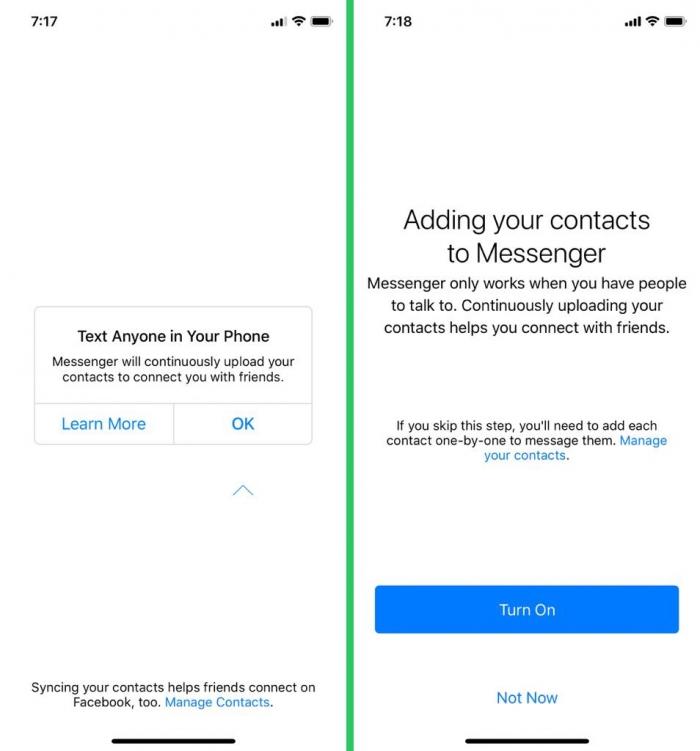 Соглашение на синхронизацию Facebook Messenger с телефонной книгой на Iphone, фото: techcrunch.com