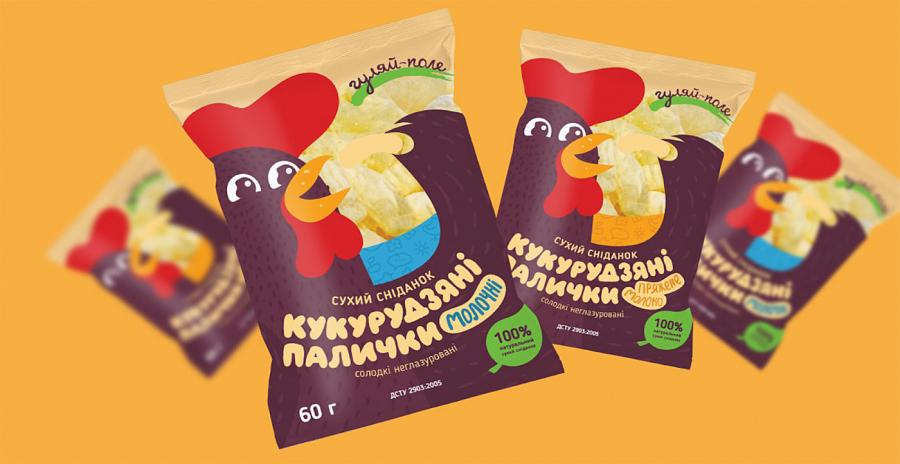 """Стильный дизайн упаковки для кукурузных палочек ТМ """"Гуляй-поле"""""""